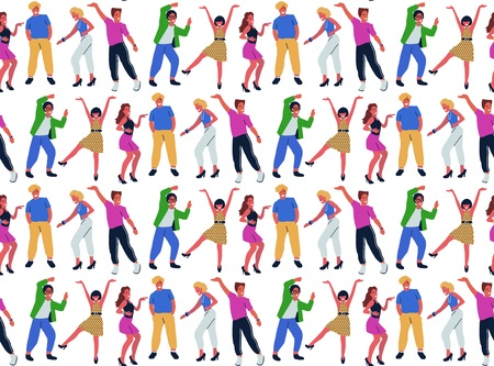 Seamless Pattern With Group Of Young Dancing People On White Background. Smiling Young Male and Female Dancers Enjoying Dance Party. Stok Fotoğraf - 118847177