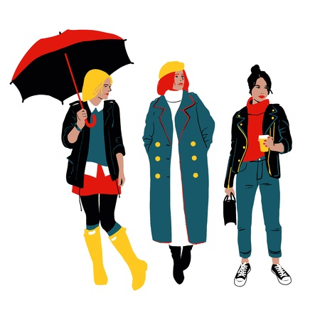 Women s Autumn Street Style. Three Young Women Or Girls Wearing Stylish Clothing Standing Together. Detailed Female Characters. Colorful Fashion Illustration In Flat Cartoon Style.