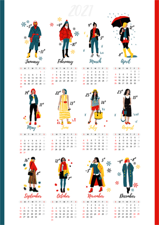 Twelve young women or girls wearing stylish clothing. Wall Calendar. Detailed Female Characters. Çizim