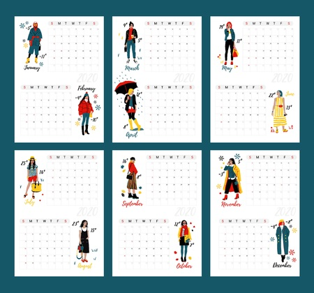Wall Calendar Planner 2020 with Twelve young women or girls wearing stylish clothing. Detailed Female Characters. Colorful Fashion Illustration in Flat Cartoon Style.