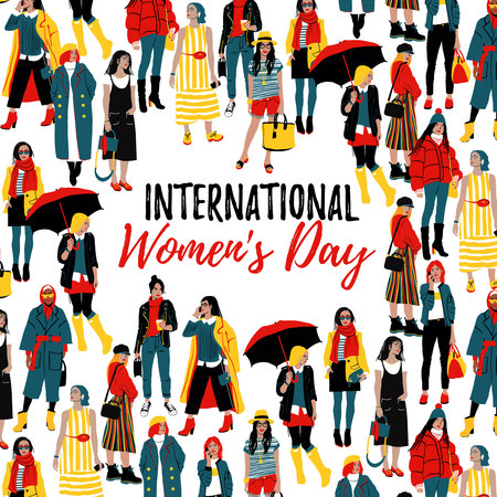 International Womens Day. Template for a poster, cards, banner. Detailed Female Characters. Colorful Fashion Illustration in Flat Cartoon Style. Vector illustration