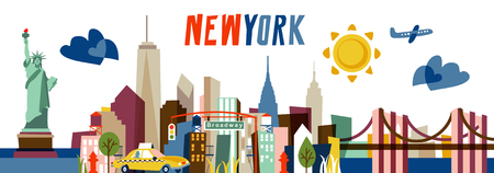 New York Flat vector illustration. Travel and Tourism concept with modern buildings. Image for banner or web site.