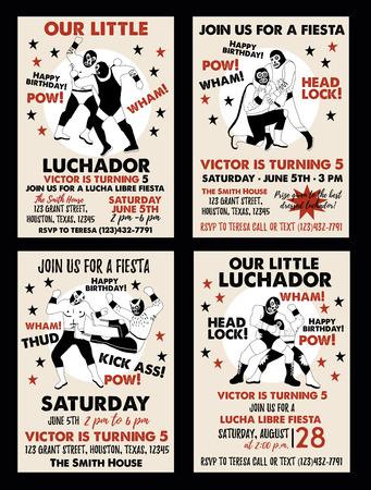 Satz Vintage Lucha Libre-Tickets. Lucha Libre-Geburtstagsfeier. Vorlagen für Geburtstagseinladungen. Vektorgrafik