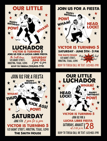 Set of Vintage Lucha Libre tickets. Lucha Libre Birthday Party. Birthday Invitation Templates.