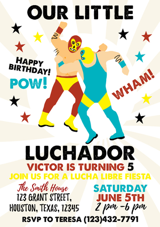 Set of Vintage Lucha Libre tickets. Lucha Libre Birthday Party. Stok Fotoğraf - 118847178