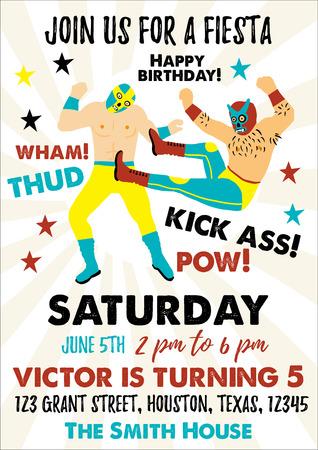 Set of Vintage Lucha Libre tickets. Lucha Libre Birthday Party. Birthday Invitation Templates. Stok Fotoğraf - 125581531