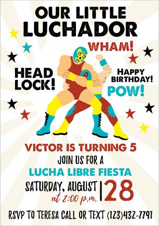 Set of Vintage Lucha Libre tickets. Lucha Libre Birthday Party. Birthday Invitation Templates. Foto de archivo - 118847180