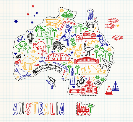Map of the Australia and Travel Icons. Australia Travel Line Icons Map. Illusztráció
