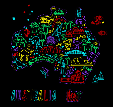 Map of the Australia and Travel Icons. Australia Travel Line Icons Map. Vettoriali