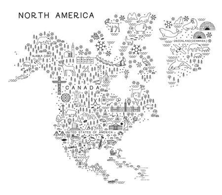 Mappa delle icone della linea di viaggio del Nord America. Poster di viaggio con animali e attrazioni turistiche. Illustrazione vettoriale di ispirazione. Vettoriali