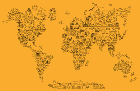 World Travel Line Icons Map. Travel Poster with animals and sightseeing attractions.