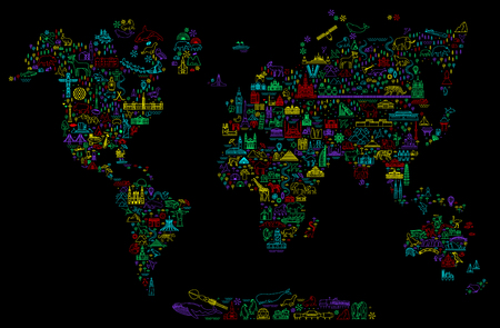 World Travel Line Icons Map. Travel Poster with animals and sightseeing attractions. Stok Fotoğraf - 125102838