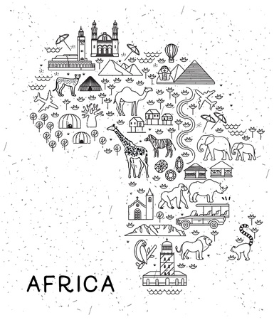 Africa Travel Line Icons Map. Travel Poster with animals and sightseeing attractions.