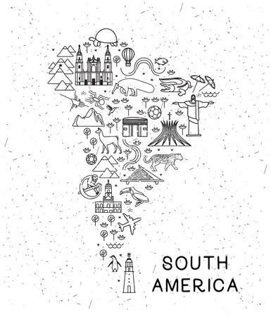 Świat podróży linii ikony Mapa Ameryki Południowej. Plakat podróżniczy ze zwierzętami i atrakcjami turystycznymi.