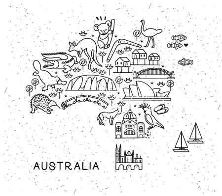 Australia Travel Line Icons Map. Travel Poster with animals and sightseeing attractions. Inspirational Vector Illustration. Stok Fotoğraf - 118847187