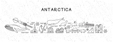 World Travel Line Icons Antarctica Map. Travel Poster with animals and sightseeing attractions. Illustration