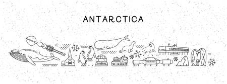 World Travel Line Icons Carte de l'Antarctique. Affiche de voyage avec des animaux et des attractions touristiques. Vecteurs