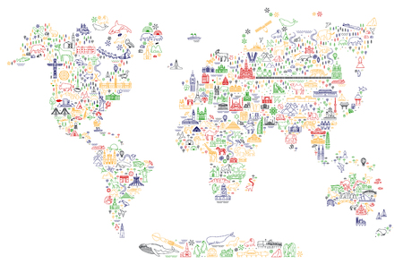 World Travel Line Icons Map. Travel Poster with animals and sightseeing attractions. Stok Fotoğraf - 125102842