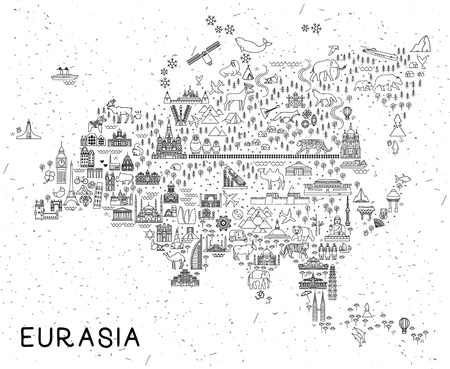 Eurasia Travel Line Icons Map. Travel Poster with animals and sightseeing attractions. Inspirational Vector Illustration