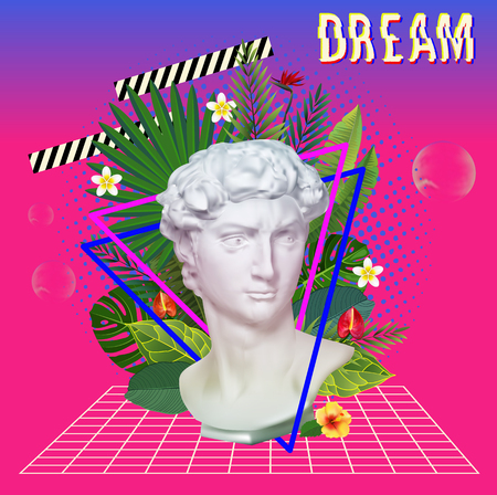 Vaporwave statue with flowers and leaves. 3D Background Illustration Inspired by 80 s Scene, synthwave and retrowave music. Vector Illustration.