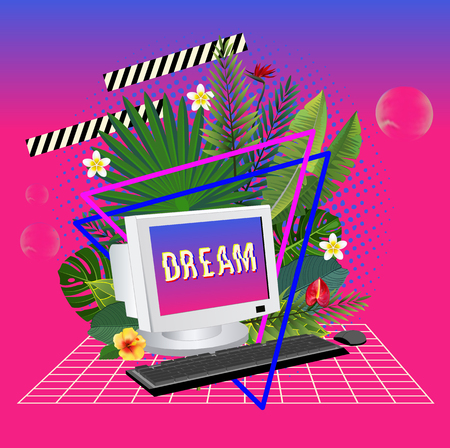 Vaporwave statue with computer and leaves. 3D Background Illustration Inspired by 80 s Scene, synthwave and retrowave music. Vector Illustration. Illustration