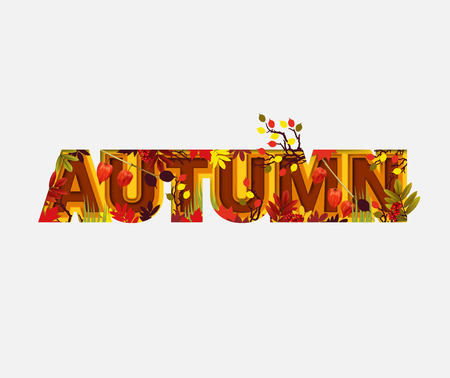 Autumn Sale Design with Falling Leaves on Light Background. Trendy Origami Paper Cut Style. Autumnal Vector Illustration.