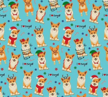 Seamless Christmas Pattern with Corgis. Vector