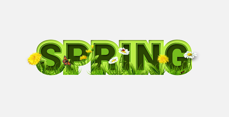 Spring Sale Design with Refreshing Spring Flowers on Light Background. Trendy Origami Paper Cut Style. Spring Vector Illustration for Coupon, Voucher, Poster, Banner. Stok Fotoğraf - 124006934