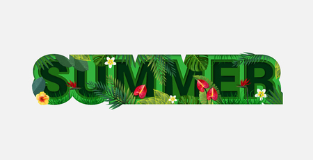 Summer Sale Design with Tropical Leaves on Light Background. Trendy Origami Paper Cut Style. Summer Vector Illustration for Coupon, Voucher, Poster, Banner. Çizim