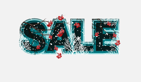 Winter Design with Rowan Branches on Light Background. Trendy Origami Paper Cut Style. Winter Vector Illustration for Coupon, Voucher, Poster, Banner. Çizim