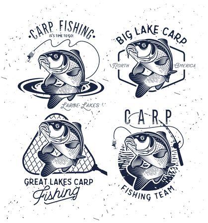 Etichette ed emblemi d'epoca per la pesca alla carpa. . Illustrazione vettoriale. Vettoriali