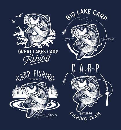 Etichette ed emblemi d'epoca per la pesca alla carpa. . Illustrazione vettoriale.