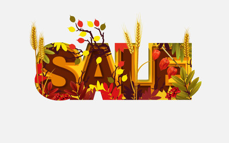Autumn Sale Design with Falling Leaves on Light Background. Trendy Origami Paper Cut Style. Autumnal Vector Illustration. Stok Fotoğraf - 123592792