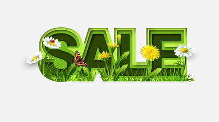 Spring Sale Design with Refreshing Spring Flowers on Light Background. Trendy Origami Paper Cut Style. Spring Vector Illustration for Coupon, Voucher, Poster, Banner. Stok Fotoğraf - 123592793
