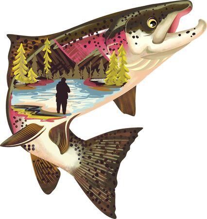 Salmon Fish Illustration with Outdoor landscape. Illustration.