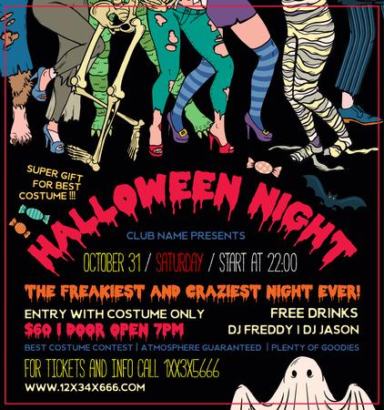 Halloween Costume Party Invitation Flyers. Vector Illustration.