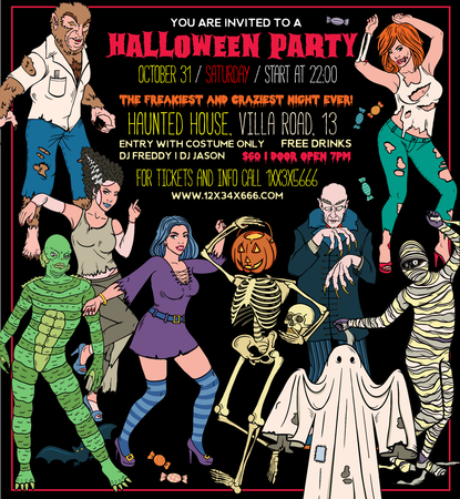 Halloween Costume Party Invitation Flyers, Tickets or Invitation templates.