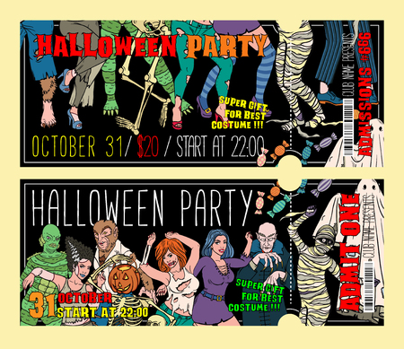 Halloween Costume Party Invitation Flyers, Tickets or Invitation templates. Stok Fotoğraf - 123554986