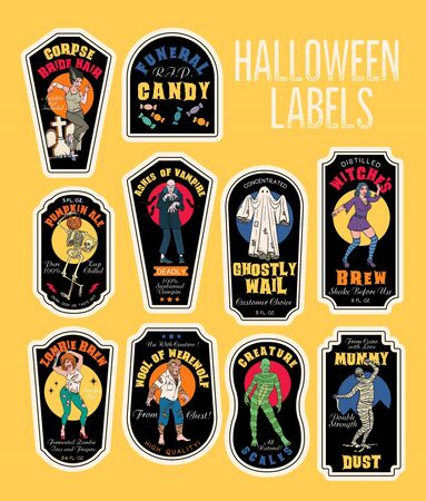 Halloween Bottle Labels Potion Labels with Monsters. Stok Fotoğraf - 130931648