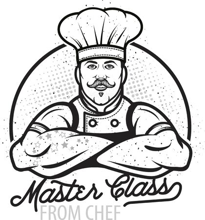 Cooking vintage logo. Cooking Class template logo with Chef. Modern design poster. Label, badge, poster for food studio, cooking courses, culinary school. Vector illustration.