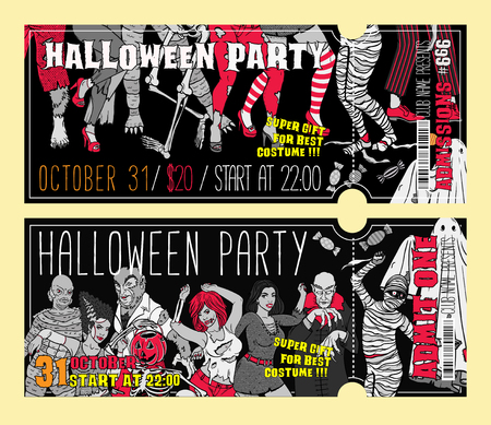Halloween Costume Party Invitation Flyers. Vector Illustration. Stok Fotoğraf - 130931645