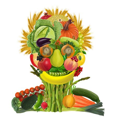 Colorful Face Made of Fruits and Vegetables isolated on white background. Food Art Concept. Stok Fotoğraf