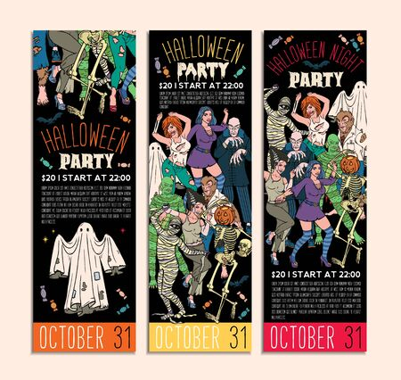Halloween Costume Party Invitation Flyers. Vector Illustration. Stok Fotoğraf - 130931651