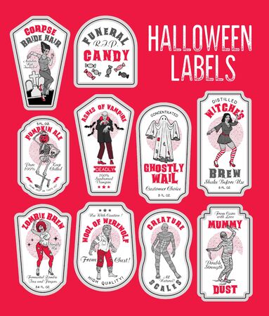 Halloween Bottle Labels Potion Labels with Monsters. Stok Fotoğraf - 130931658