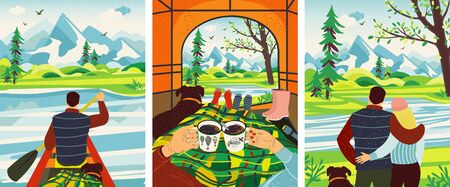 Romantic Camping Trip. Man And Woman Get To Chill In The Tent, Drinking Hot Coffee, Looking At Views In Mountains, Kayaking. Flat Colorful Vector Illustration. Çizim