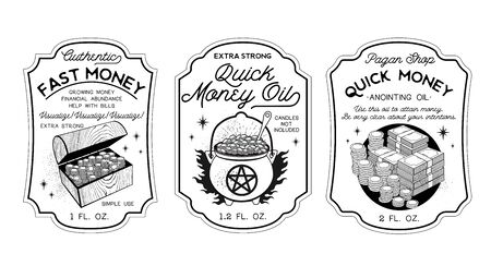 Money Oil Bottle Labels Potion Labels. Vector Illustration.
