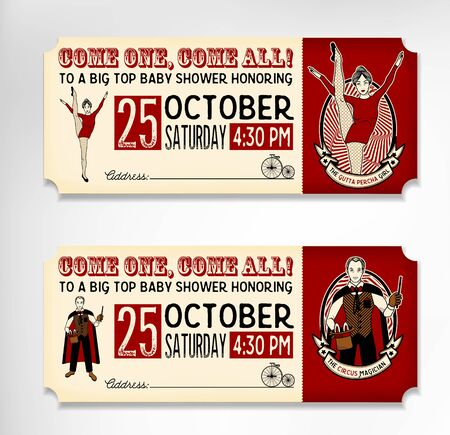 Vintage Circus Tickets On White Background