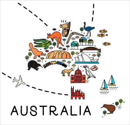 Cartoon map of Australia. Australia travel guide. Travel Poster with animals and sightseeing attractions.