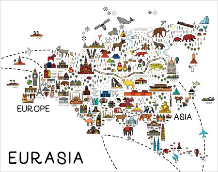 Eurasia Map.Eurasia travel guide.Travel Poster with animals and sightseeing attractions. Vector Illustration. Çizim