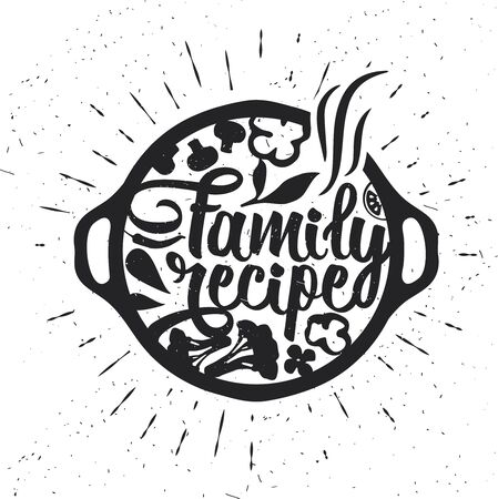 Hand drawn typography poster. Inspirational vector typography. Family Recipe. Stok Fotoğraf - 130931666